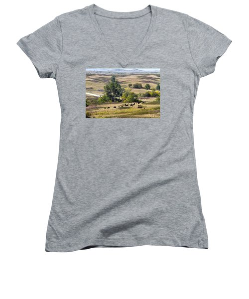 Kansas Plains  Women's V-Neck T-Shirt (Junior Cut) by Betty Pauwels
