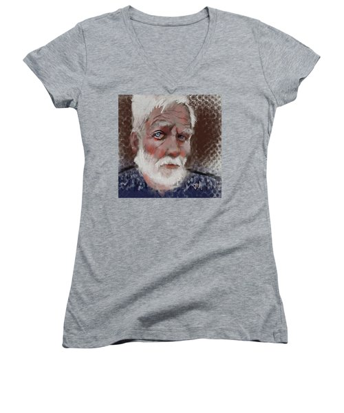 Women's V-Neck T-Shirt (Junior Cut) featuring the painting Kare by Jim Vance