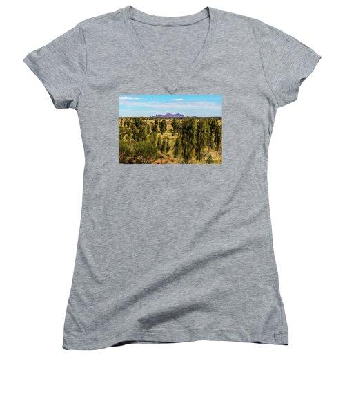 Women's V-Neck T-Shirt featuring the photograph Kata Tjuta 01 by Werner Padarin