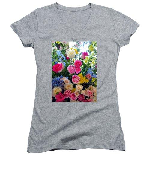 Kate's Flowers Women's V-Neck T-Shirt