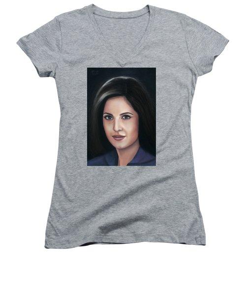 Katrina Kaif - Pastel Women's V-Neck T-Shirt (Junior Cut) by Vishvesh Tadsare
