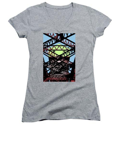 Katy Trail Bridge Women's V-Neck T-Shirt (Junior Cut) by Christopher McKenzie