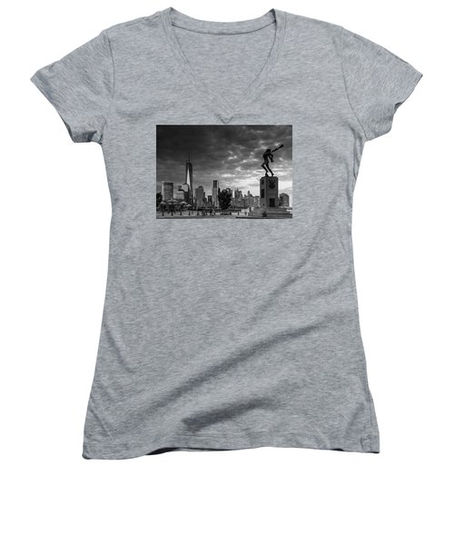 Women's V-Neck T-Shirt (Junior Cut) featuring the photograph Katyn New World Trade Center In New York by Ranjay Mitra