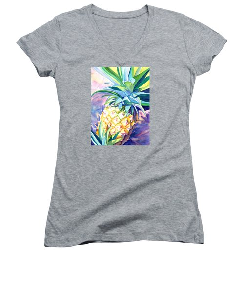 Women's V-Neck T-Shirt (Junior Cut) featuring the painting Kauai Pineapple 3 by Marionette Taboniar
