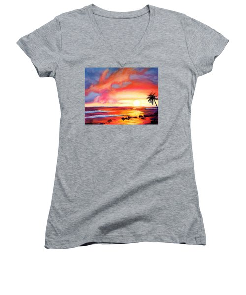 Women's V-Neck T-Shirt (Junior Cut) featuring the painting Kauai West Side Sunset by Marionette Taboniar