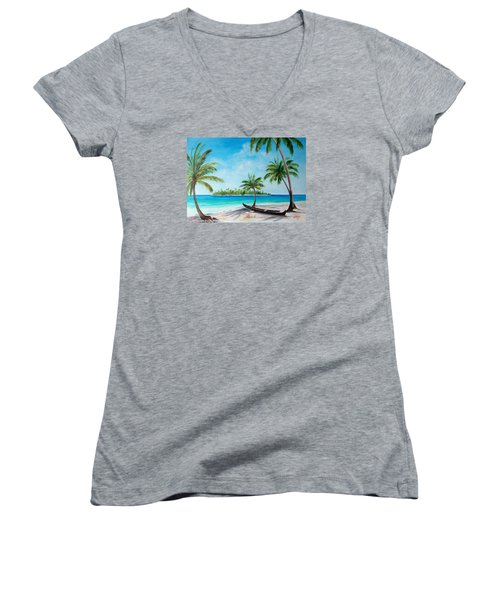 Kayak On The Beach Women's V-Neck T-Shirt