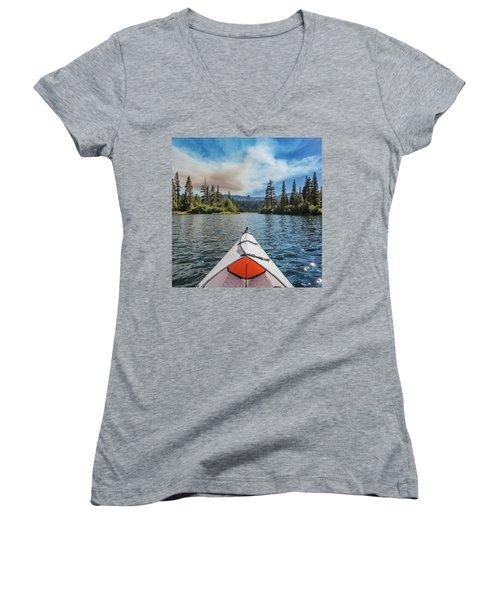 Kayak Views Women's V-Neck T-Shirt (Junior Cut) by Alpha Wanderlust