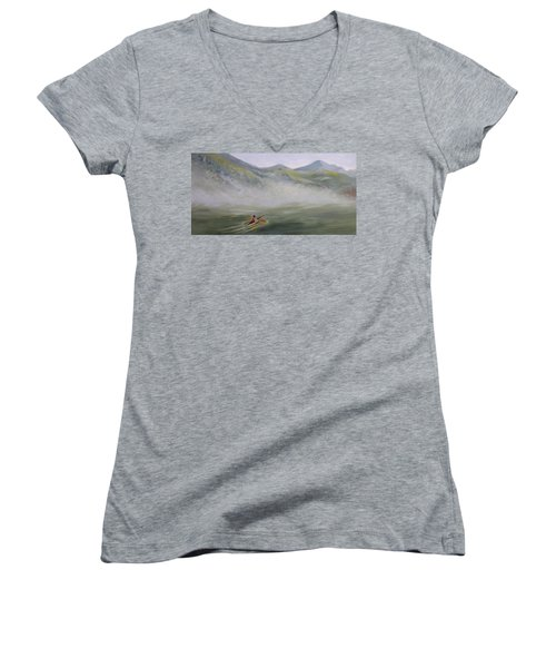 Kayaking Through The Fog Women's V-Neck