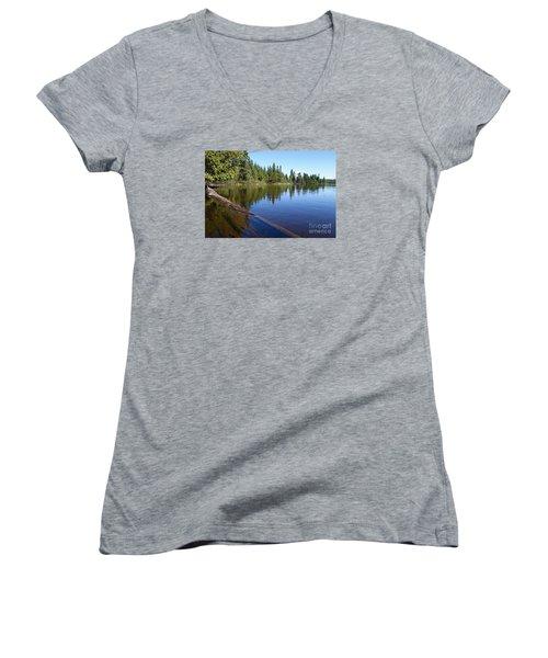 Women's V-Neck T-Shirt (Junior Cut) featuring the photograph Kayaking Serenity by Sandra Updyke