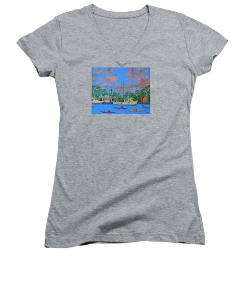kayaks on the Creek Women's V-Neck T-Shirt (Junior Cut) by Dwain Ray