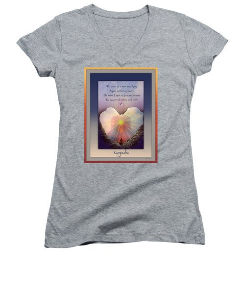 Kaypacha Mantra 3.3.2015 Women's V-Neck T-Shirt (Junior Cut) by Richard Laeton