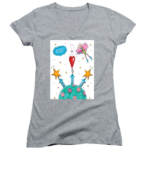 Keep At It Women's V-Neck T-Shirt (Junior Cut) by Tracy Campbell