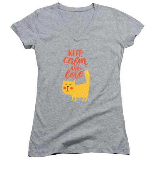 Women's V-Neck T-Shirt (Junior Cut) featuring the photograph Keep Calm And Love Cute Animals by Edward Fielding