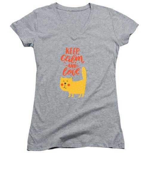 Keep Calm And Love Cute Animals Women's V-Neck T-Shirt (Junior Cut) by Edward Fielding