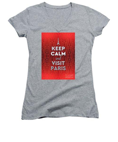 Keep Calm And Visit Paris Opera Garnier Floral Wallpaper Women's V-Neck