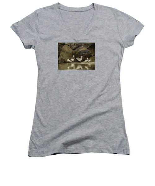 Women's V-Neck T-Shirt (Junior Cut) featuring the photograph Keep On Dancing by Rob Wilson