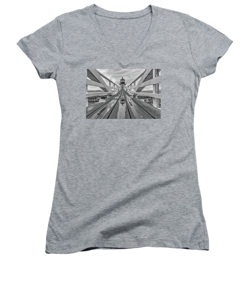 Women's V-Neck T-Shirt (Junior Cut) featuring the photograph Keeper's Walkway At Marshall Point by Rick Berk