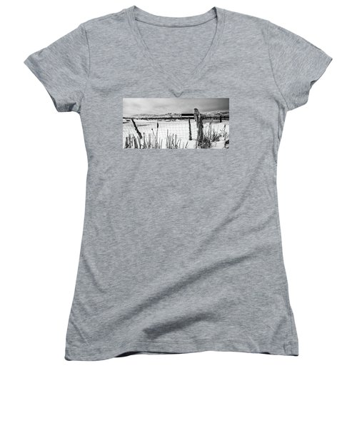 Keeping Watch Black And White Women's V-Neck
