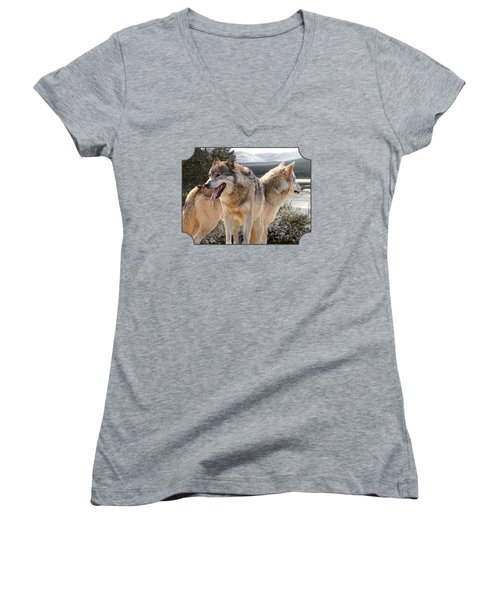 Keeping Watch - Pair Of Wolves Women's V-Neck T-Shirt