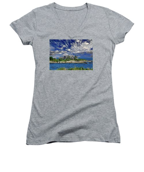 Kennebunkport, Maine - Walker's Point Women's V-Neck T-Shirt (Junior Cut) by Russ Harris