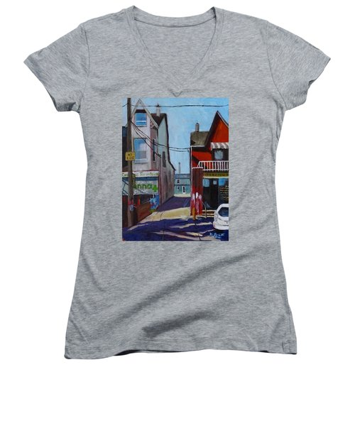 Kensington Market Laneway Women's V-Neck T-Shirt (Junior Cut) by Diane Arlitt