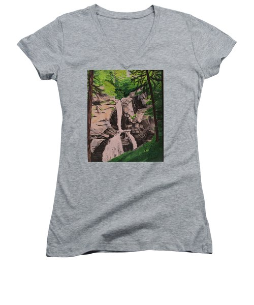 Women's V-Neck T-Shirt (Junior Cut) featuring the painting Kent Falls by Hilda and Jose Garrancho