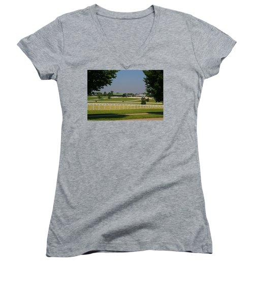 Kentucky Horse Park Women's V-Neck T-Shirt (Junior Cut) by Kathryn Meyer