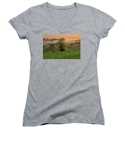 Kentucky Morning Women's V-Neck T-Shirt (Junior Cut) by Ulrich Burkhalter