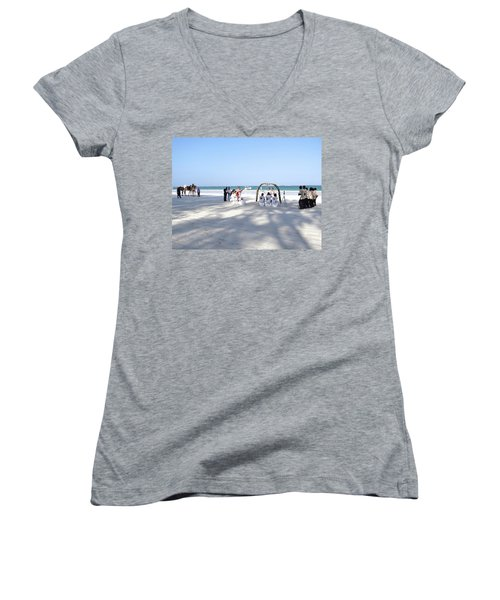 Kenya Wedding On Beach Wide Scene Women's V-Neck T-Shirt (Junior Cut) by Exploramum Exploramum