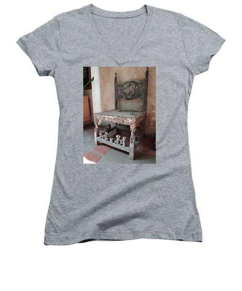 Kenyan African Antique Carved Chair Women's V-Neck T-Shirt (Junior Cut) by Exploramum Exploramum