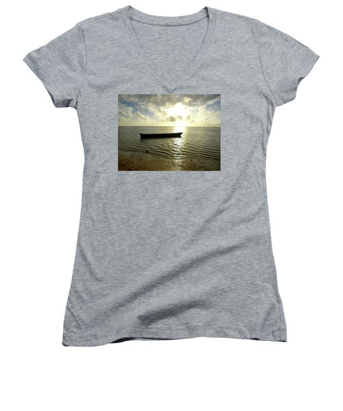 Kenyan Wooden Dhow At Sunrise Women's V-Neck T-Shirt (Junior Cut) by Exploramum Exploramum