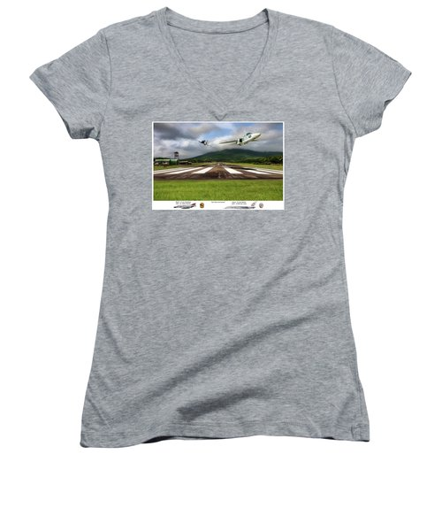 Kep Field Air Show Women's V-Neck T-Shirt (Junior Cut) by Peter Chilelli