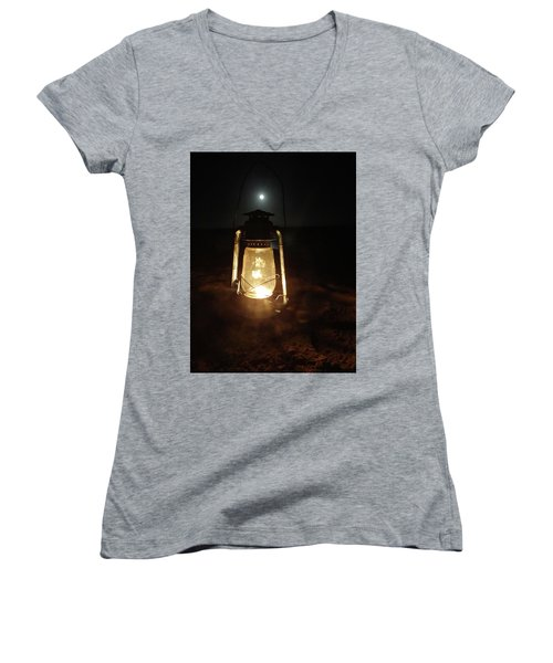 Kerosine Lantern In The Moonlight Women's V-Neck T-Shirt (Junior Cut) by Exploramum Exploramum