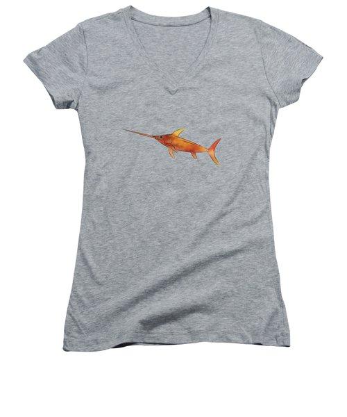 Kessonius V1 - Amazing Swordfish Women's V-Neck T-Shirt (Junior Cut) by Cersatti