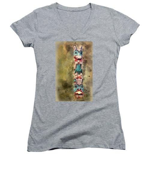 Ketchikan Alaska Totem Pole Women's V-Neck T-Shirt