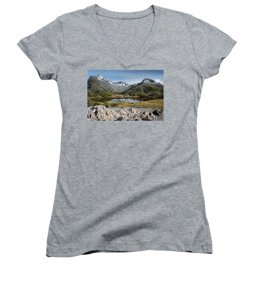 Women's V-Neck T-Shirt featuring the photograph Key Summit View by Gary Eason