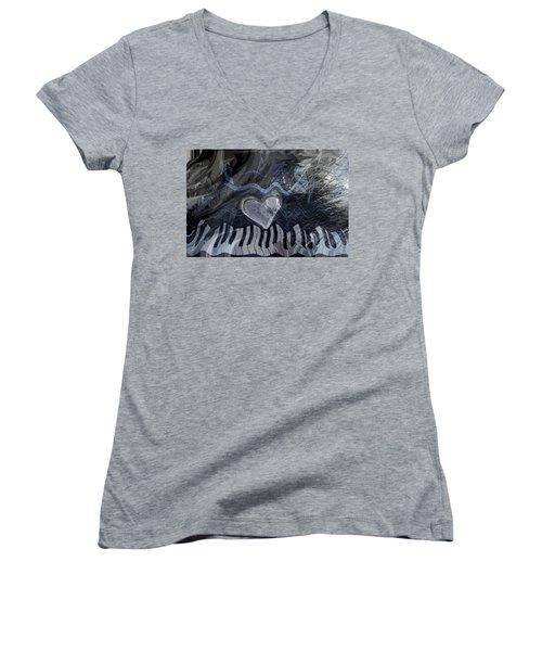 Key Waves Women's V-Neck T-Shirt (Junior Cut) by Linda Sannuti