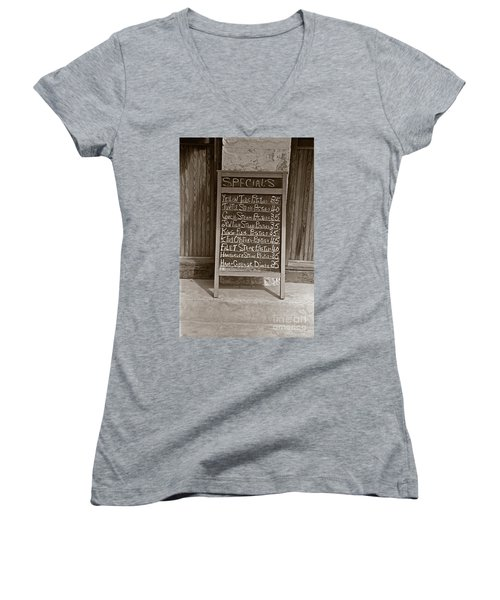 Women's V-Neck T-Shirt (Junior Cut) featuring the photograph Key West Depression Era Restaurant Specials by John Stephens