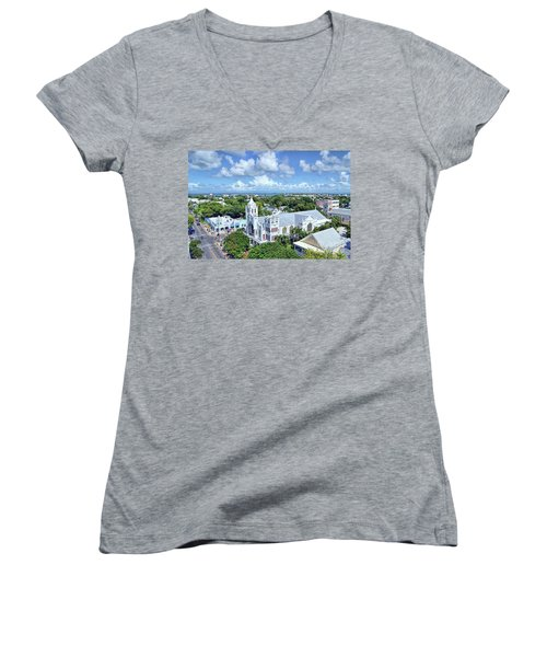 Women's V-Neck T-Shirt (Junior Cut) featuring the photograph Key West by Olga Hamilton