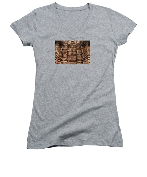 Khajuraho Temples 2 Women's V-Neck (Athletic Fit)