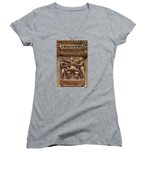 Khajuraho Temples 5 Women's V-Neck (Athletic Fit)