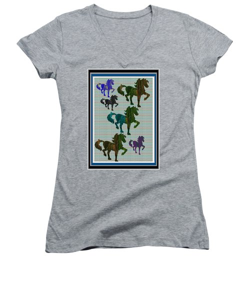 Kids Fun Gallery Horse Prancing Art Made Of Jungle Green Wild Colors Women's V-Neck T-Shirt (Junior Cut) by Navin Joshi