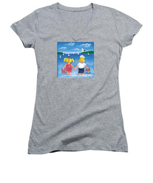 Kids In Door County Women's V-Neck T-Shirt (Junior Cut) by Pat Olson