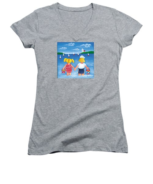 Kids In Door County Women's V-Neck (Athletic Fit)