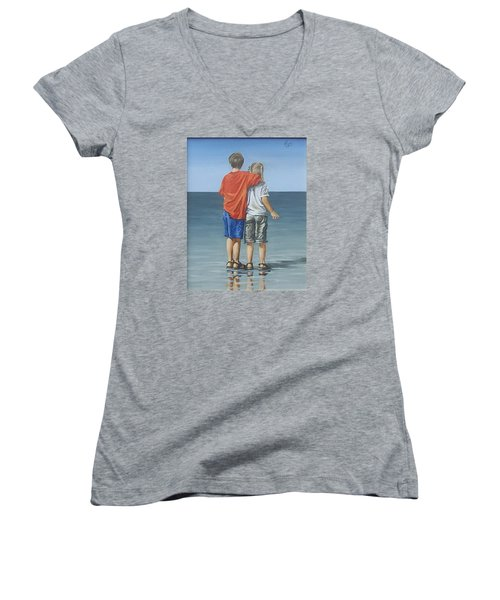 Women's V-Neck T-Shirt (Junior Cut) featuring the painting Kids by Natalia Tejera