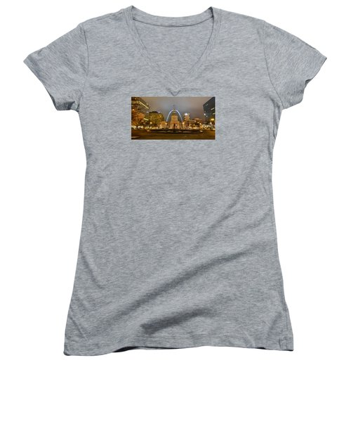Kiener Plaza And The Gateway Arch Women's V-Neck