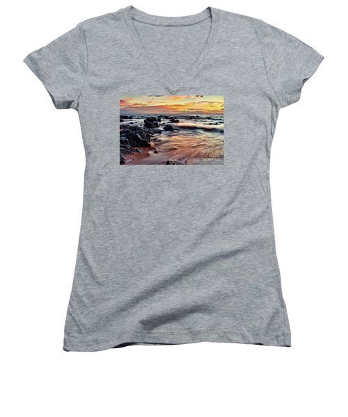 Kihei Sunset Women's V-Neck (Athletic Fit)
