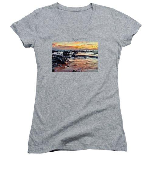 Kihei Sunset Women's V-Neck T-Shirt