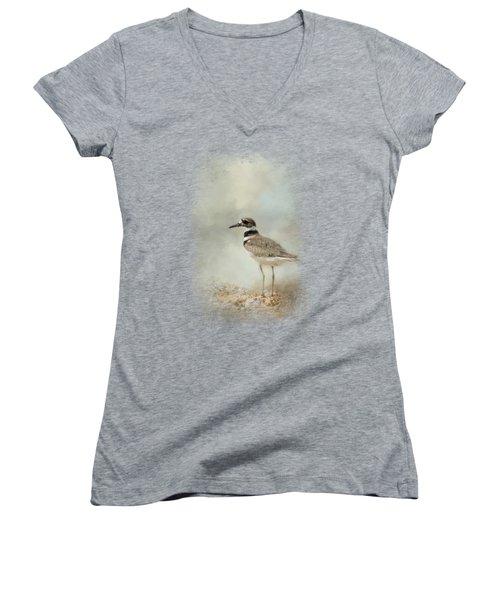 Killdeer On The Rocks Women's V-Neck T-Shirt (Junior Cut) by Jai Johnson