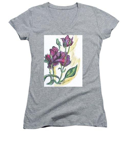 Kimberly's Spring Flower Women's V-Neck T-Shirt (Junior Cut) by Clyde J Kell